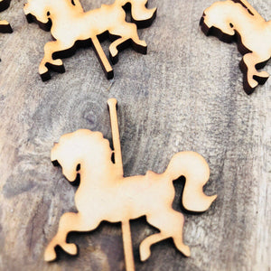 Plain Timber Carousel Horse Gift Tag Bonbonniere Tags Favor Tags Cross Cut Out DIY Raw Timber Pack of 20