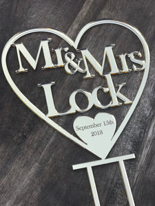 Mr & Mrs Surname Personalised Wedding Cake Topper Heart Wedding Cake Engagement Cake Topper Cake Decoration Cake including date
