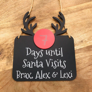 Personalised Christmas Countdown Sign Days Until Santa Visits Sign Christmas Wall Hanging Christmas Gift Rudolph Acrylic