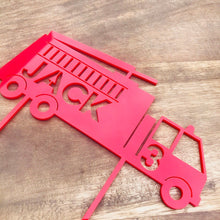 Firetruck Personalised Cake Topper Birthday Cake Topper Cake Decoration Cake Decorating Fire Engine Cake Topper Decor Party Boys