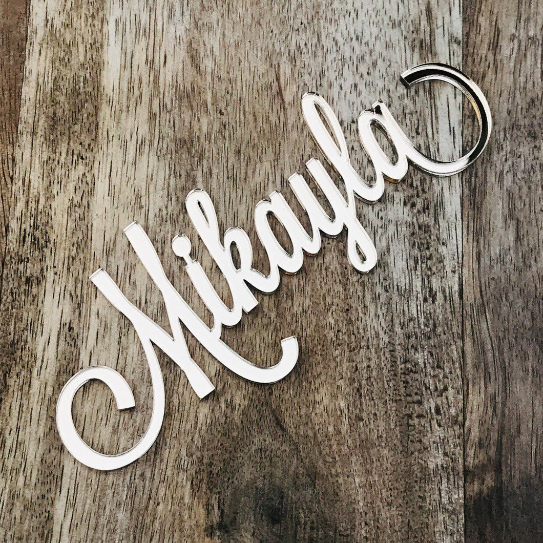 14cm Wide Name Plaque No Stick Front of Cake Decoration DIY Name Decoration LVD Mirror Acrylic
