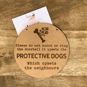 Protective Dogs Sign Plaque Wall Hanging Baby Shower Gift Boho Door Sign Home Decor Timber upset Neighbours