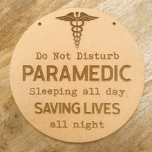 Paramedic Sign Plaque Wall Hanging Baby Shower Gift Boho Door Sign Home Decor Timber Sign
