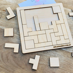 Tetris Puzzle — Wood Puzzle, Timber Puzzle, Craft, DIY, Custom Puzzle, Sensory, Timber, Montessori, Brain Tease, Wooden