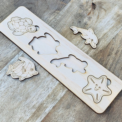 Sea life Puzzle — Wood Puzzle, Timber Puzzle, Craft, DIY, Custom Puzzle, Sensory, Timber, Montessori, Brain Tease, Wooden