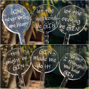 Swizzle Sticks Set of 6 Pun Punny Alcohol Cocktails Gin Acrylic Drink Stirrer Hens Party Wedding Birthday Gift Sugar Boo