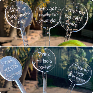 Swizzle Sticks Set of 6 Pun Punny Alcohol Cocktails Acrylic Drink Stirrer Hens Party Wedding Birthday Gift Sugar Boo set 2