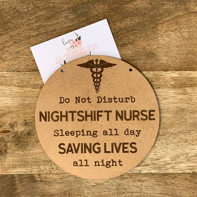 Nightshift Nurse Sign Plaque Wall Hanging Baby Shower Gift Boho Door Sign Home Decor Timber Sign