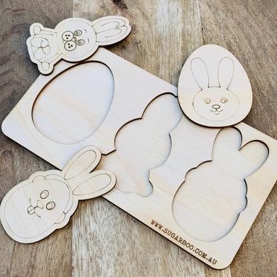 Easter Puzzle — Wood Puzzle, Timber Puzzle, Craft, DIY, Custom Puzzle, Sensory, Timber, Montessori, Bunny Puzzle Wooden