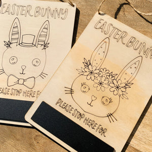 Easter Bunny Stop Here Sign — Boy/Girl Set Chalkboard Wood Timber, Craft, DIY, Timber, Montessori, Bunny Wooden Easter