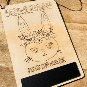 Easter Bunny Stop Here Sign — Girl Chalkboard Wood Timber, Craft, DIY, Timber, Montessori, Bunny Wooden Easter