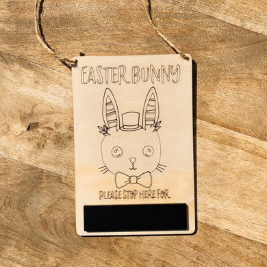 Easter Bunny Stop Here Sign —Boy Chalkboard Wood Timber, Craft, DIY, Timber, Montessori, Bunny Wooden Easter