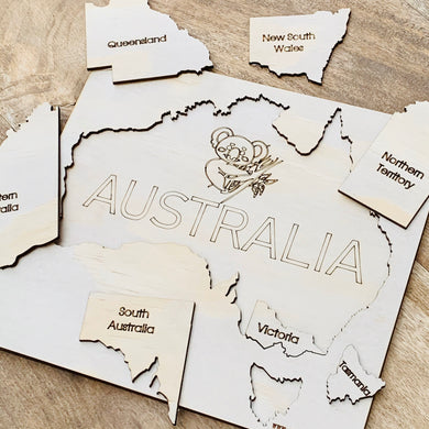 Australia Map Puzzle — Wood Puzzle, Timber Puzzle, Craft, DIY, Custom Puzzle, Sensory, Timber, Montessori Brain Tease Wooden Australian Map