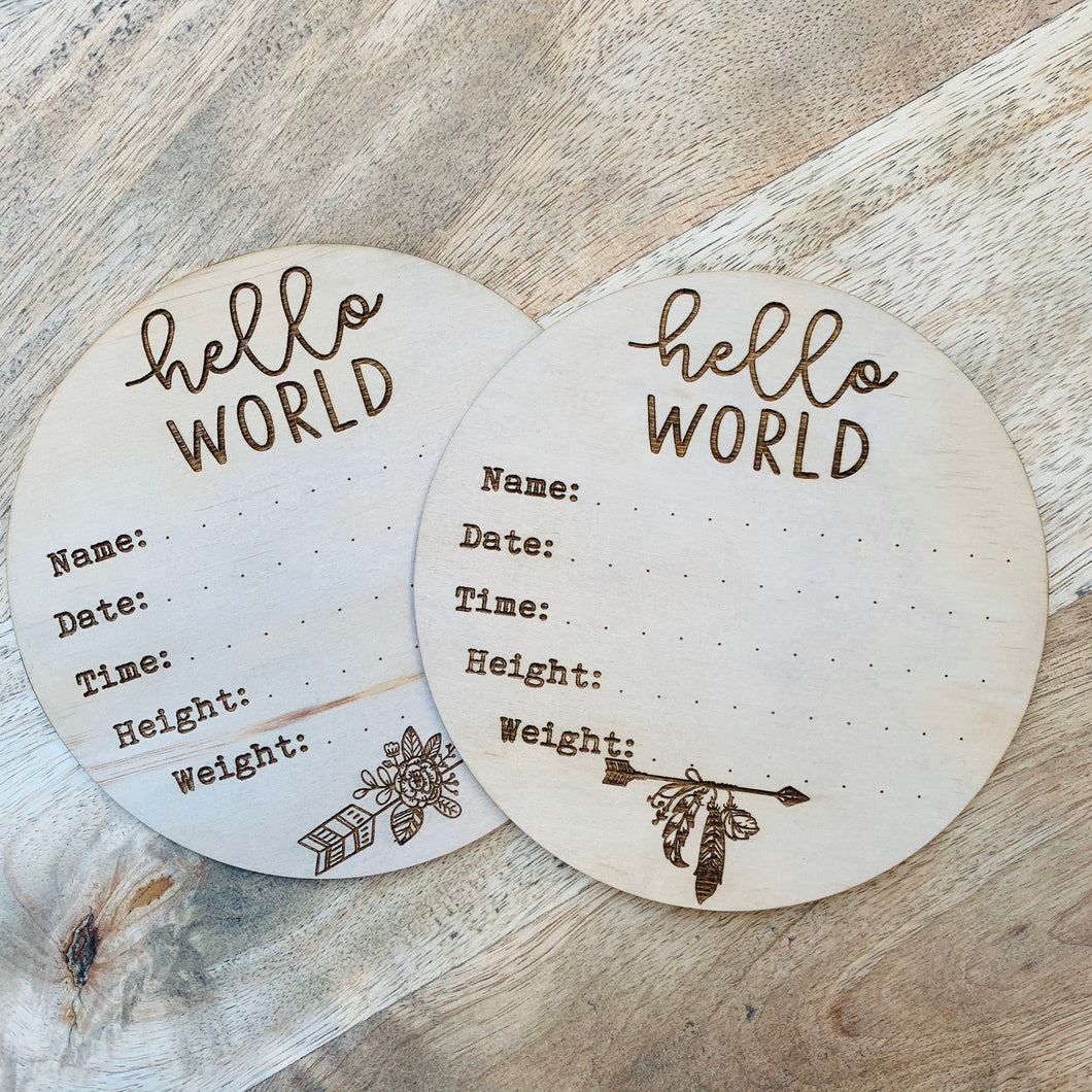 Birth announcement Sign DIY Plaque Wall Hanging Gift Door Sign Home Decor Timber Sign Hello World