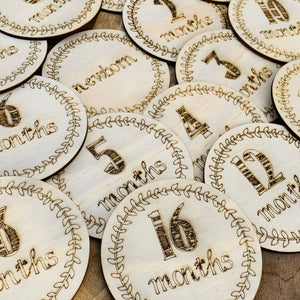 Set of 16 Timber Milestone Cards, Wooden Milestone Discs, Newborn Photo Prop, Baby Shower Gift, Age Discs