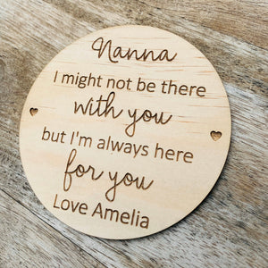 Nanna Personalised Coaster Mother's Day Gift 10cm Round Wooden Coaster Timber Coaster