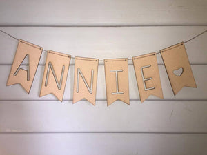 Personalised Timber Bunting Nursery Decor Bedroom Decor Baby Shower Wedding Bunting (Per Letter)  Timber Garland Wooden Bunting Personalised