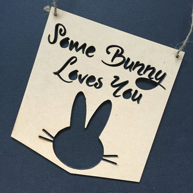 Some Bunny Loves You Nursery Decor Wall Hanging Baby Shower Gift Boho Door Sign Bedroom Decor Personalised Personalized