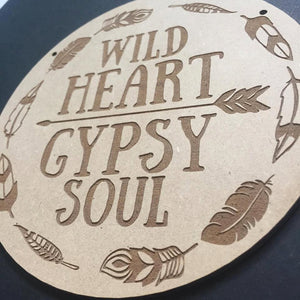 Wild Heart Gypsy Soul Door Sign Decor Wall Hanging Gift Boho Door Sign Bedroom Decor Wanderlust Style Hanging Sign Teepee Styling