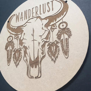 Wanderlust Cow Skull Door Sign Decor Wall Hanging Gift Boho Door Sign Bedroom Decor