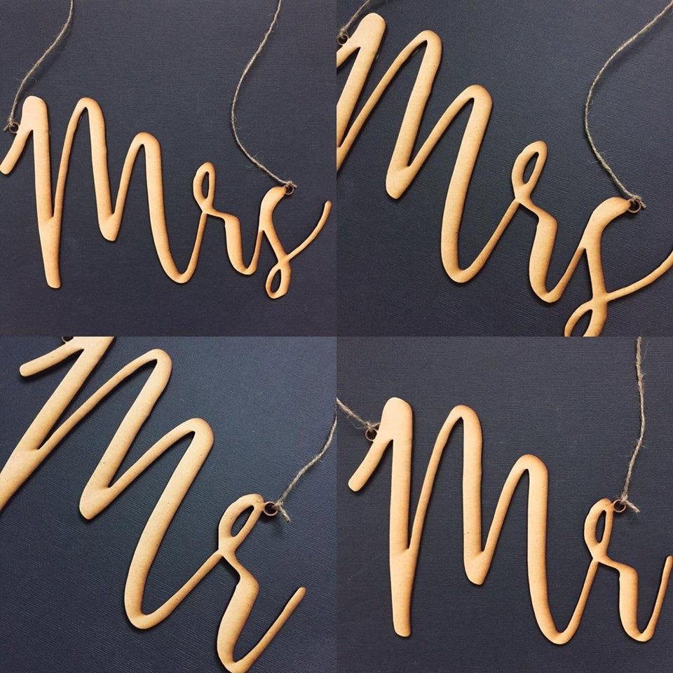 Mr and Mrs Timber Wedding Chair Signs Wedding Decoration Wedding Decor Mr and Mrs DIY, Top Table signs