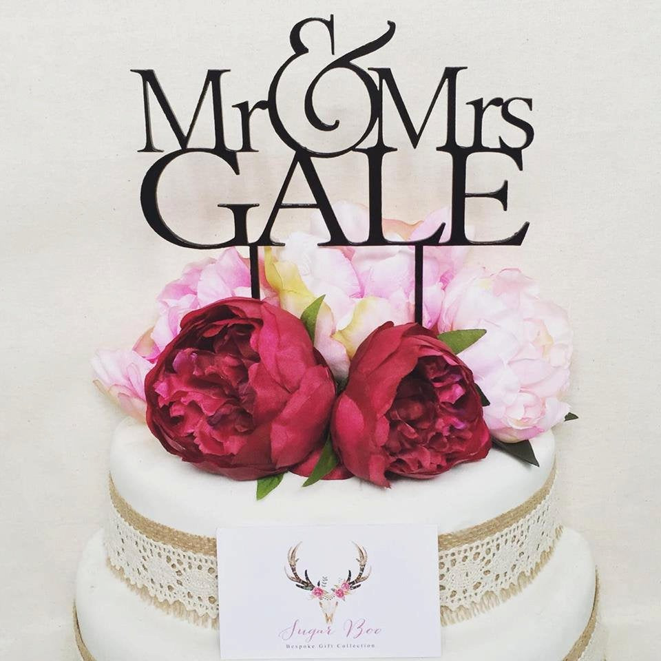 Personalised Wedding Cake Topper Mr & Mrs Wedding Cake Engagement Cake Topper Cake Decoration Cake Decorating Mr and Mrs Cake Topper