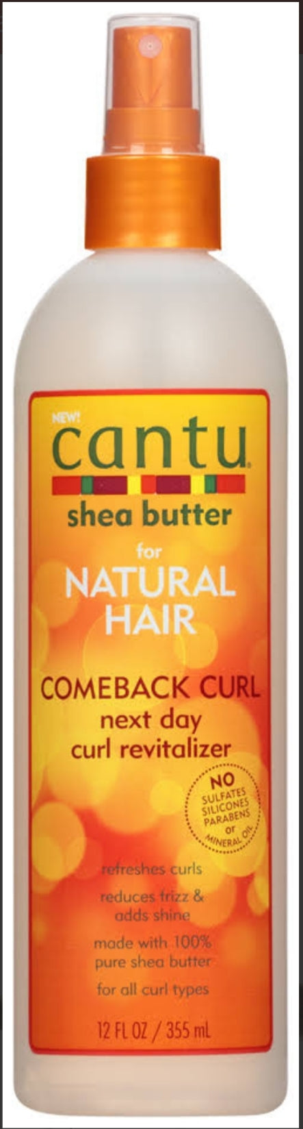 Cantu Shea Butter For Natural Hair Comeback Curl Next Day Curl Revitalizer 12 oz