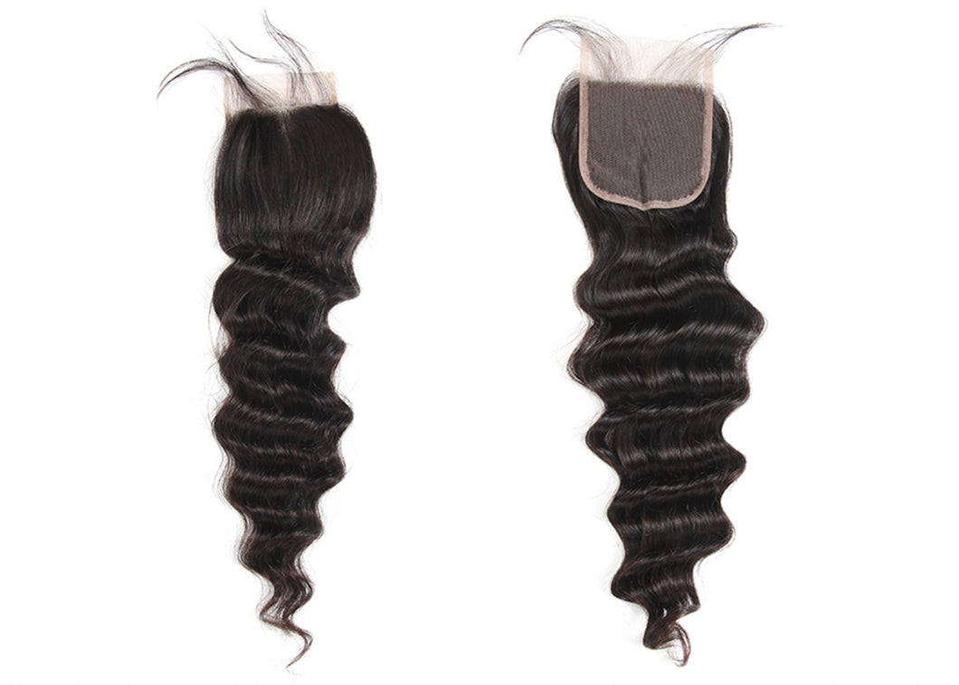 Loose Deep Wave 4*4 Lace Closures Brazilian Virgin Remy Hair