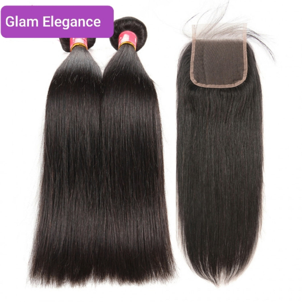 Brazilian Straight Weft 2 Bundles with 4×4 Lace Closure. Natural Black 100% Virgin Human Hair