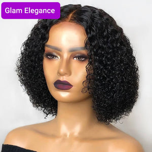 Glam Elegance Premium AAA Jerry Curl Lace Closure Bob Wig