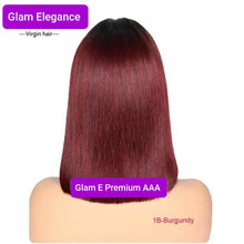 Glam Elegance Premium AAA Silky Blunt Cut 1b /Burgundy Lace Front  Wig