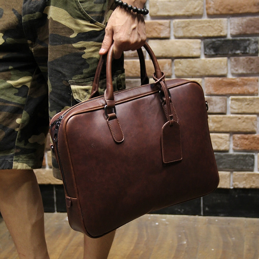 Men's crazy horse pu leather briefcases male fashion brown business shoulder bags large handbag messenger bag work file bag - ALL NECKTIES