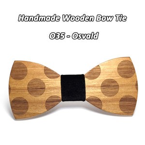 Solid Dot Wood Bow Tie For Men Classic Wooden Bowties Neckwear - ALL NECKTIES
