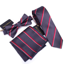 3 PCS Men NeckTie Set Bowtie Slim Necktie high quality Slim Skinny Narrow Men Tie dress Handkerchief Pocket Square Suit Set - ALL NECKTIES