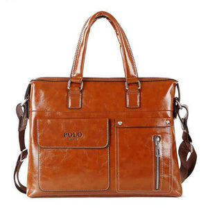 Large Capacity Brand Leather Business Man Handbag 14inch Laptop Bags - ALL NECKTIES