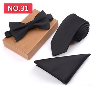 3 PCS Slim Tie Set Men Bow Tie Handkerchief Bowtie Homme Necktie Cravate Noeud Papillon Man Corbatas Hombre Pajarita - ALL NECKTIES