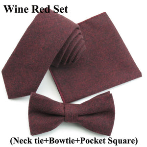 Mens Necktie Sets Fashion Solid Color Soft Cotton - ALL NECKTIES