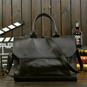 Vintage Men Business Real Genuine Leather Briefcase Travel Bag - ALL NECKTIES