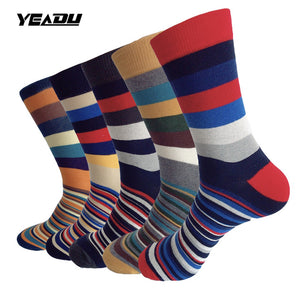 YEADU EU 38-48 Fashion Plus Size Stripe Crew Men's Socks Art Painting Cotton Casual Business Compression Sock 5 Pairs/Lot - ALL NECKTIES