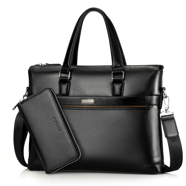 Famous Brand Fashion Casual Leather Men's 2 Set Bag Shoulder Bag Messenger Bags Business Handbag Laptop Male Briefcase - ALL NECKTIES
