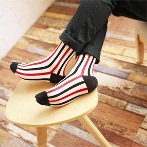 Fashion Men Socks Vertical Stripes Fashion Business Cotton Long Socks - ALL NECKTIES