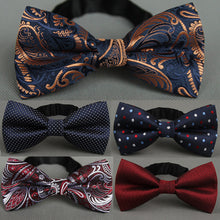 Men's Bow Tie Gold Paisley Bowtie Business Wedding Bowknot Dot - ALL NECKTIES