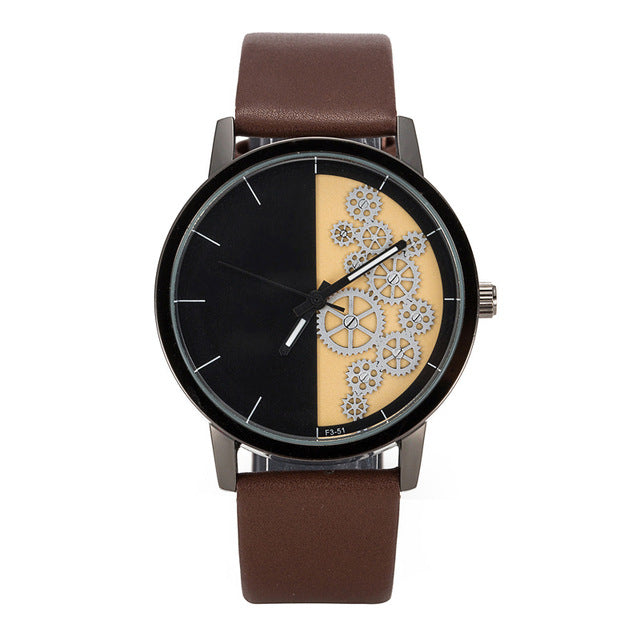 Mens Watches  leather Quartz Watch - ALL NECKTIES