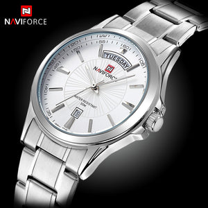 Business NAVIFORCE Mens Watches Top Brand Luxury Quartz Watches Men Fashion Business Male Clock Date Display Full Steel - ALL NECKTIES