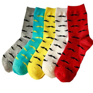 Cotton Business socks men colorful mustache 5pair=1lot socks - ALL NECKTIES