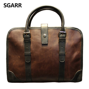 2017 The Classic Crazy Horse PU Leather Briefcase Men's Business Zipper Bags High Quality Messenger 14inch Laptop Office Bag - ALL NECKTIES