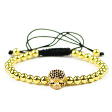 Fashion Skull Men Charms Bracelet 5mm Copper Beads Zircon Lucky Braided Rope Women Bangle Jewelry - ALL NECKTIES
