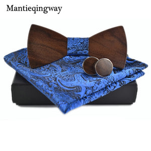 Mantieqingway Men's  Neck Tie Set Formal Wood Bowtie Neck Tie Handkerchiefs Cuff Links Business Polyester Ties Cufflinks Wedding - ALL NECKTIES