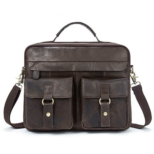 Crazy Horse Genuine Leather Men Briefcase Messenger Laptop Bag - ALL NECKTIES