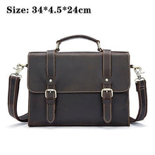 MVA Men Laptop Messenger Bags Crazy Horse Leather Shoulder Bags - ALL NECKTIES